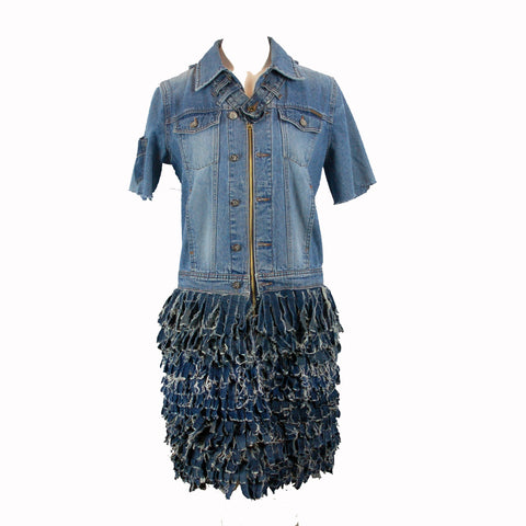 Hoard Couture Original Denim Fringe Skirt Dress