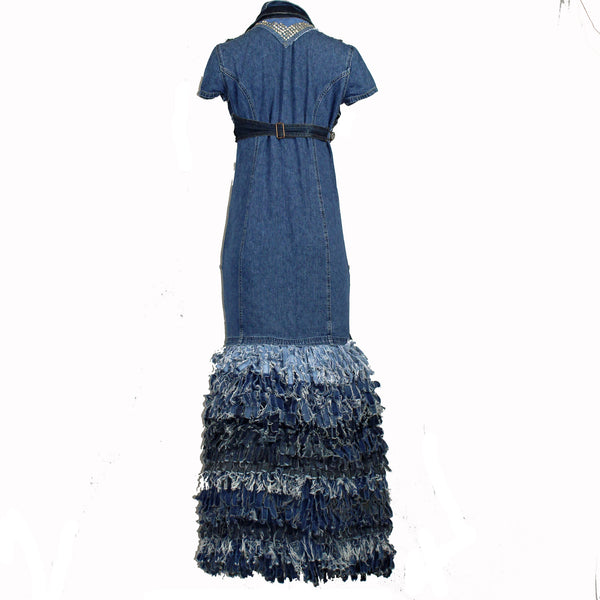 Hoard Couture Original Denim Fringe Gown