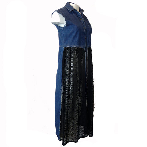 Hoard Couture Original Denim Maxi Vest with Lace