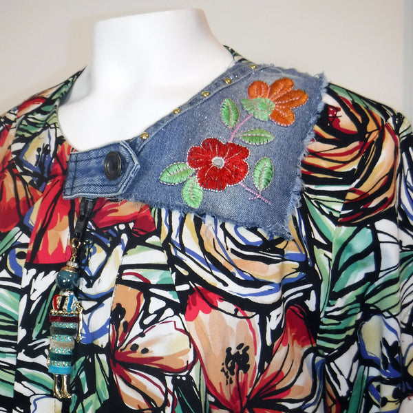 Floral Jacket with Denim Details