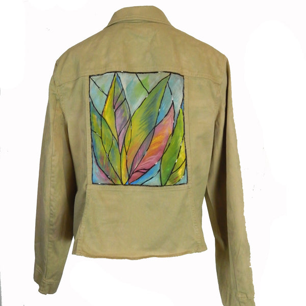 Hand Painted Tropical Leaves Jacket