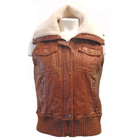 Faux Leather Bomber Style Vest
