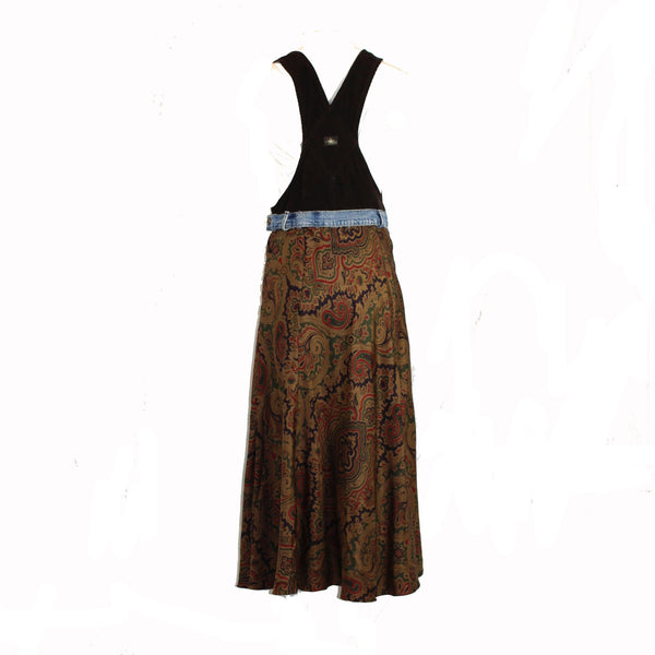 Brown Overalls with Paisley Silk Skirt