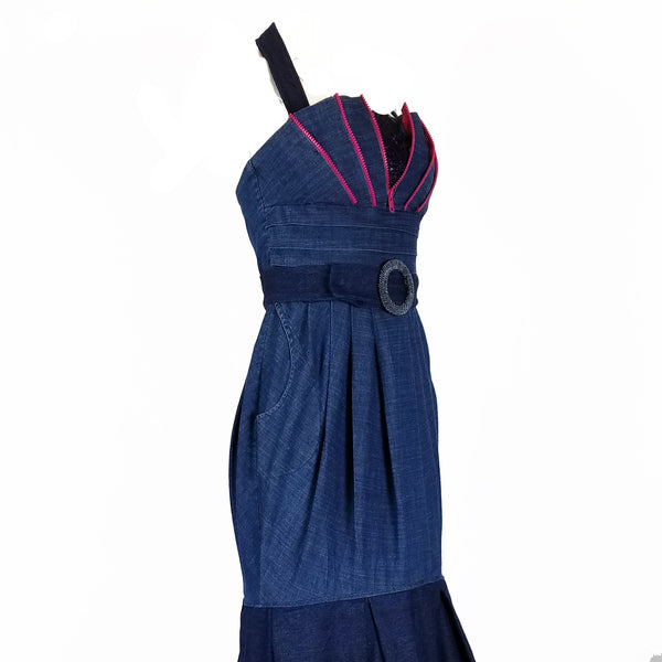 Pink Detail Denim Gown - Hoard Couture Original Denim