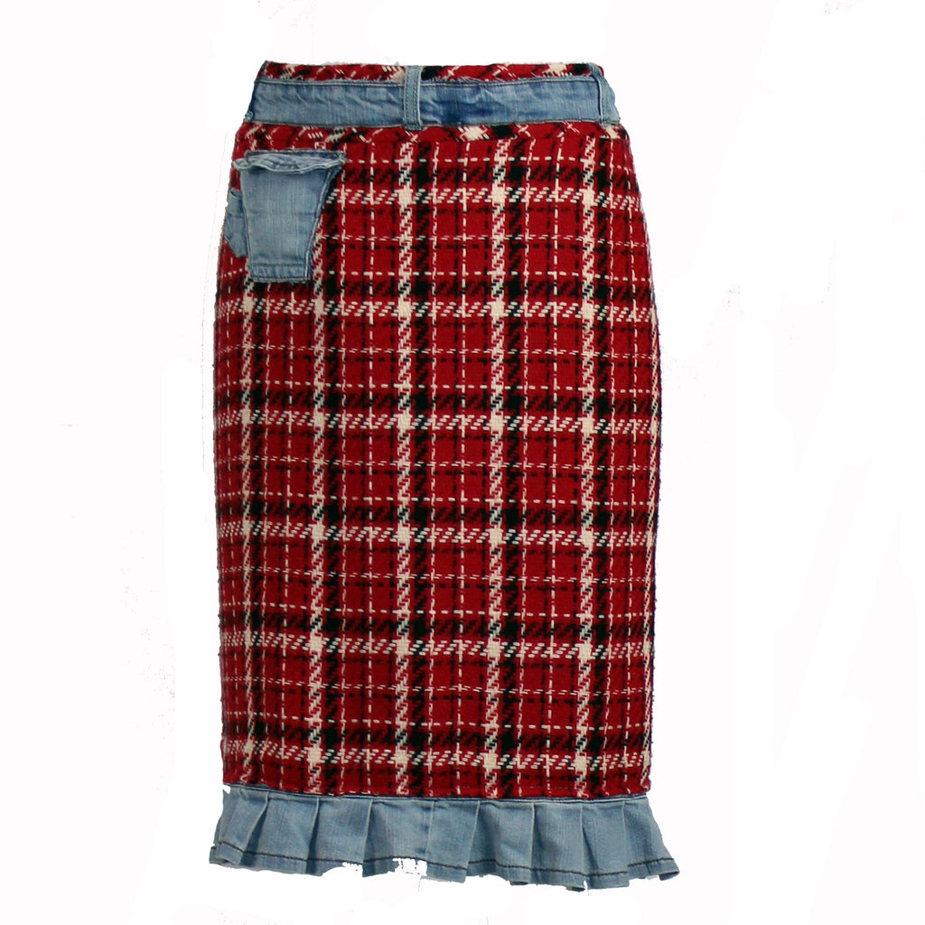 Plaid Skirt with Denim Ruffle