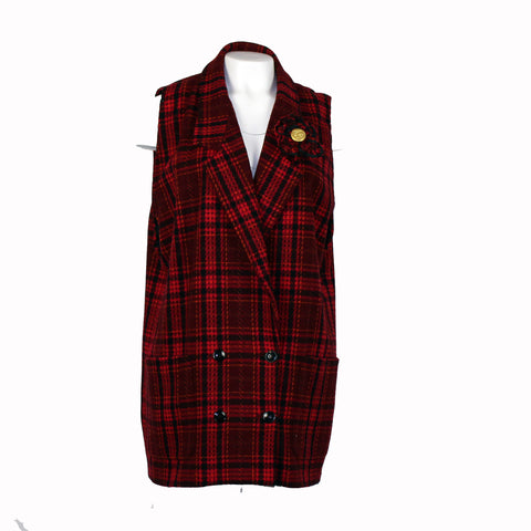 Red Plaid Retro Vest