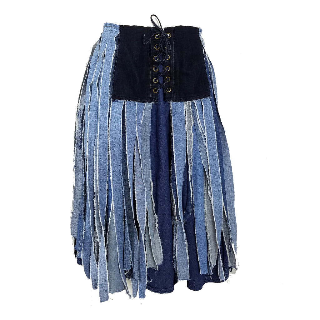 Hoard Couture Original Denim Rat Tail Wrap Skirt