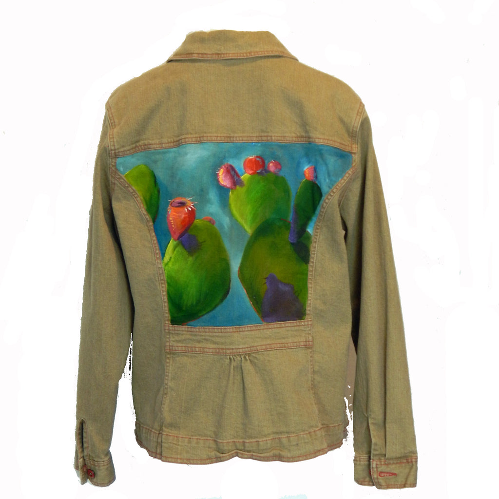 Hand Painted Cactus Jacket with Red Detailing