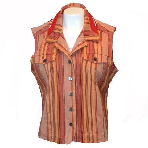 Striped Denim Vest with Applique