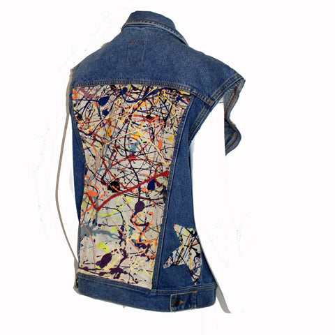 Denim  Vest (former Jacket) with Pollock Inspired Panels