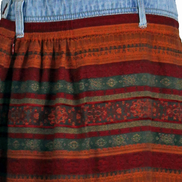 Overalls Skirt with Red and Orange Stripes