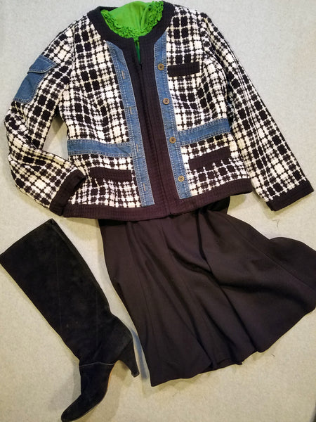 Black and White Chanel Inspired Denim Trim Jacket