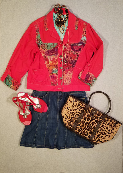 Red Jacket with Multi Colored Accents