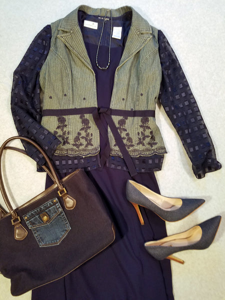 Navy Textures Statement Jacket
