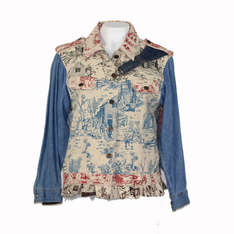 Toile Print Jacket with Denim Accents