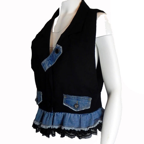 Hoard Couture Original Denim Tuxedo Tunic Vest