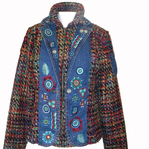 Tweed Jacket with Denim Trim