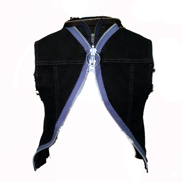 Crop Vest with Zipper Accents - Hoard Couture Original Denim