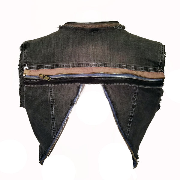 Crop Zipper Vest - Hoard Couture Original Denim