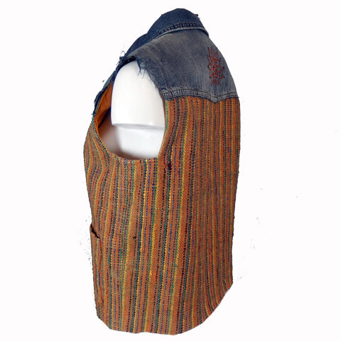 Textile Vest with Denim Accents