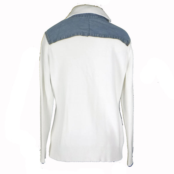 White Sweater with Denim Trim