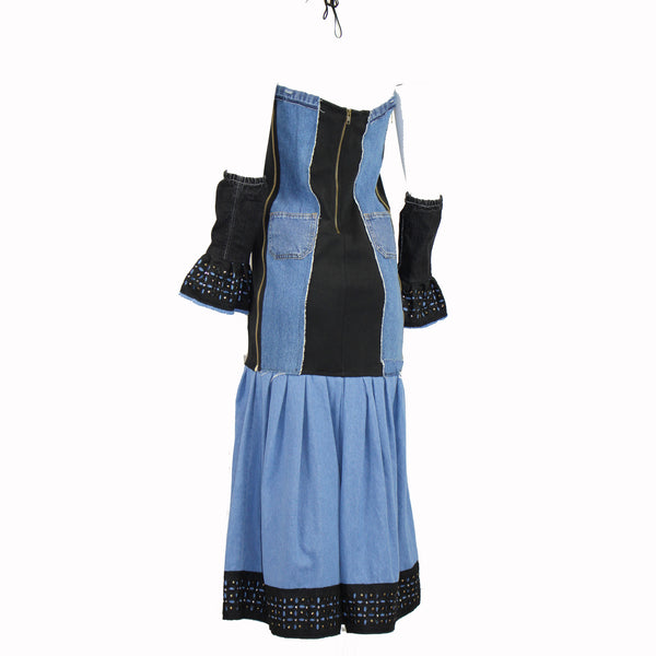 Hoard Couture Original Denim Stretch Panel Dress