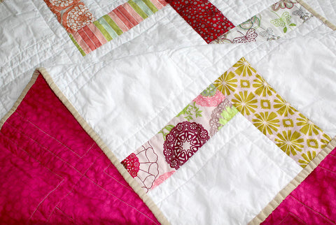Pink Floral Stairs Baby Quilt