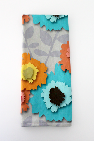 Paper Flowers Tea Towel