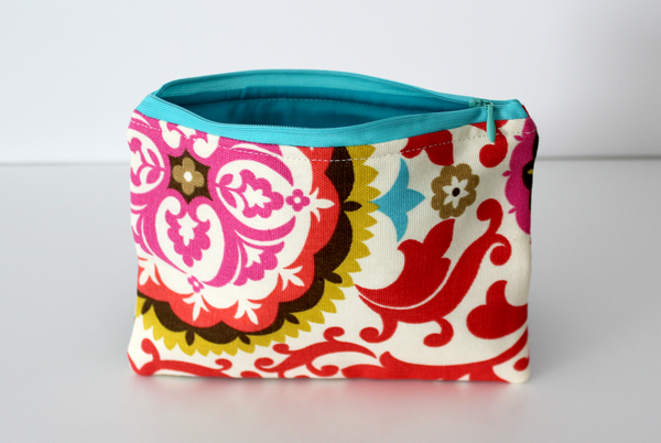 Zipper Bag - Red Brocade/Aqua