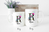 Personalized Mug | Personalized Name Coffee Cup | Initial Mug | Black Watercolor Bright Floral Mug