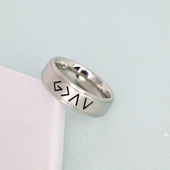 God is Greater than the Highs and Lows ring | tri-band stainless steel ring