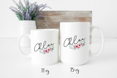 Personalized Name Mug | Personalized Name Coffee Cup | Floral Design Gift for Her | Script Name