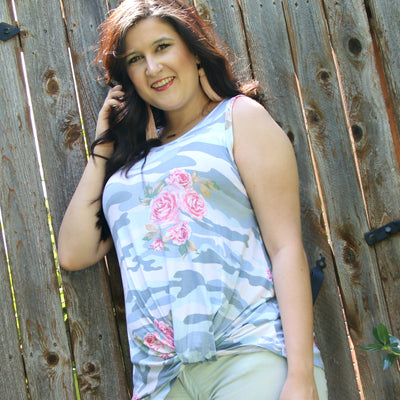 spring in camo tank top - boutique