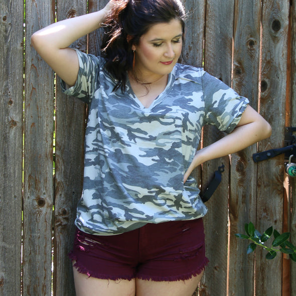 find me in camo v-neck tee - boutique