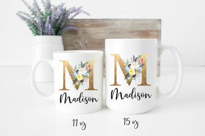 Personalized Mug with Gold Brown Initial with Flowers and name | Mother's Day Gift | Personalized Coffee Mug