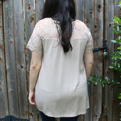 taupe pretty me lace top - boutique