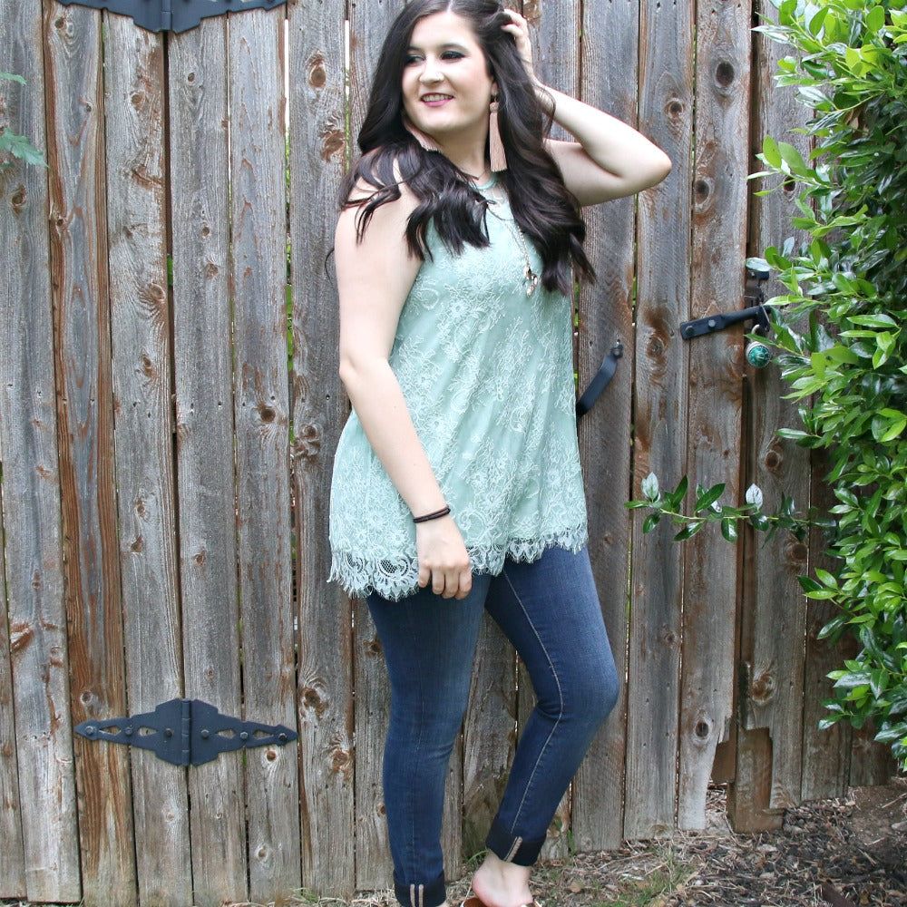 teal love me lace tank - boutique