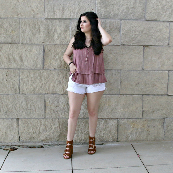 all of my love double ruffle tank - mauve - boutique