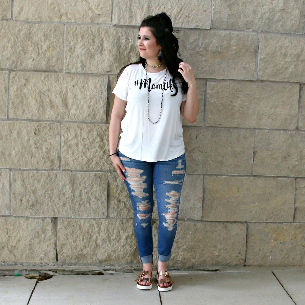 #Momlife graphic tee - off white - boutique