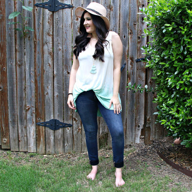 peach to teal tie die tunic tank - boutique