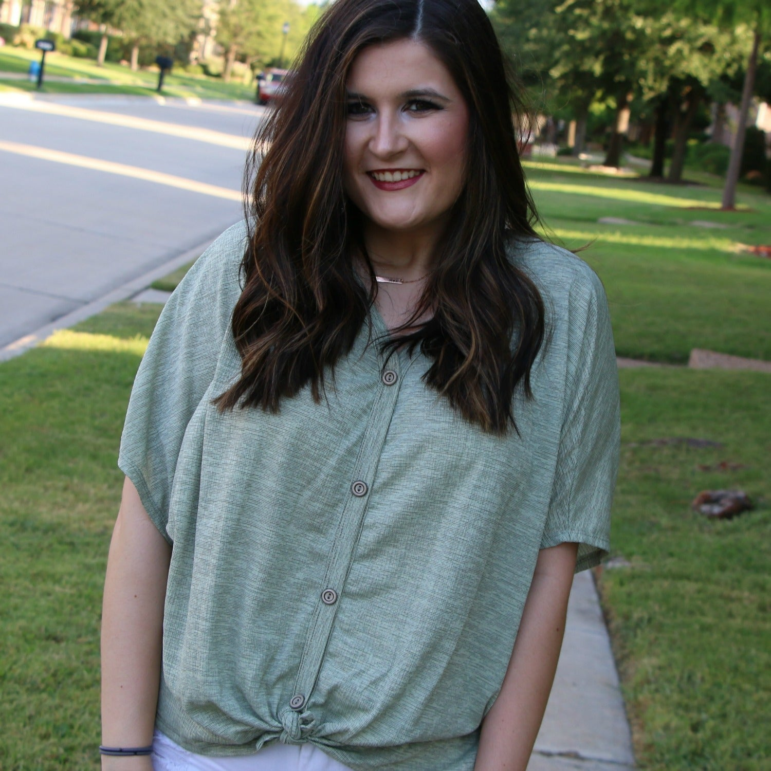 sage button knot top