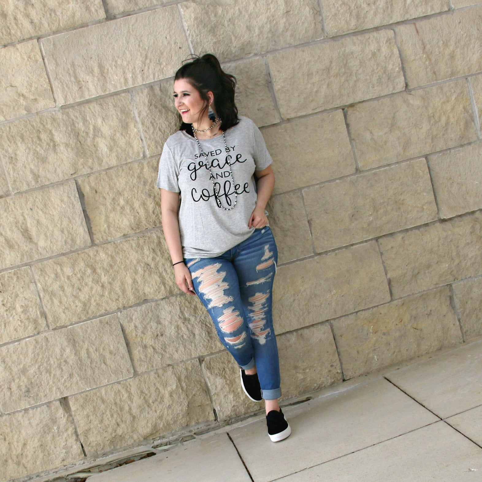 gray saved by grace and coffee t-shirt - boutique