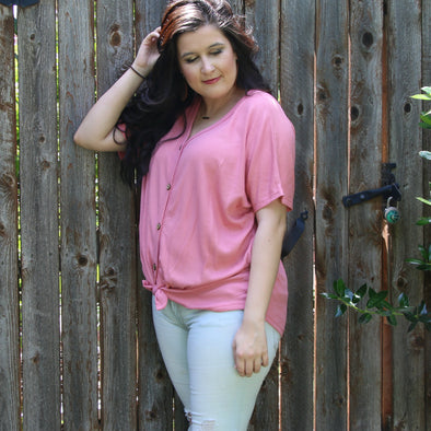 peach blossom relaxed and happy button knot top - boutique
