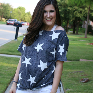 navy star print top