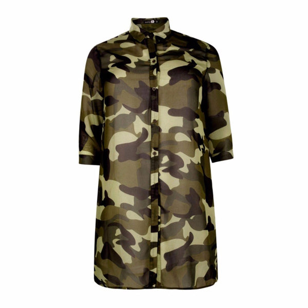 Long Camo Button Up