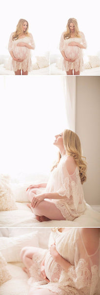 Maternity Photoshoot Short Lace Dress