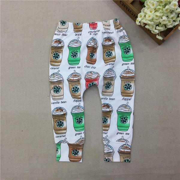 Unisex Coffee Print Harem Pants