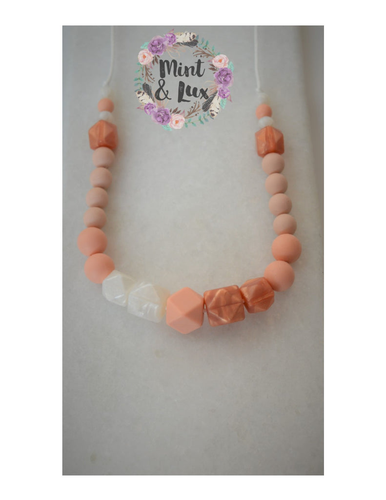 The Blushing Rosey Teething Necklace