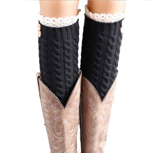 Button and Lace Boot Socks