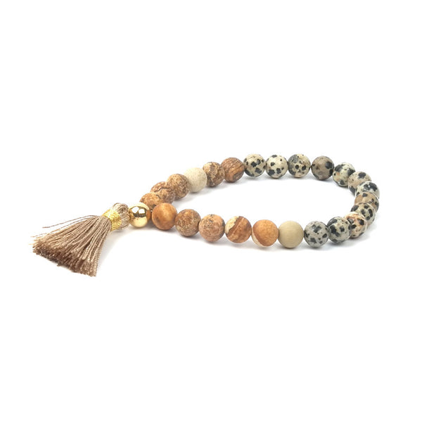 Boho Natural Stone Tassle Bracelets 5 Colours